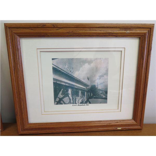 "Framed Black & White Print of Love's Kapahulu Site 16""x14"""