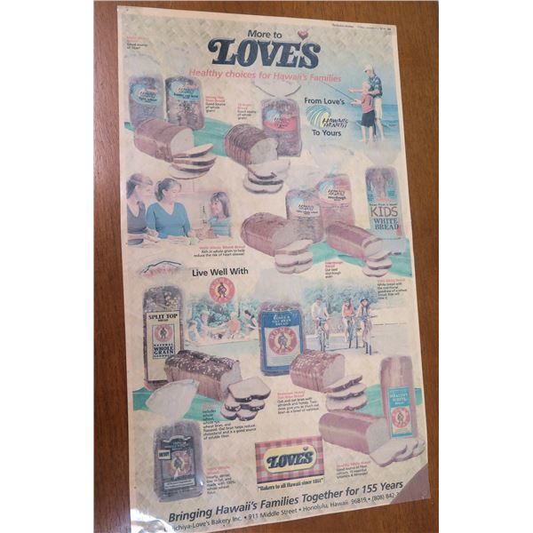 """Vintage Love's Bread Poster 'Bringing Families Together' Double Sided 20""""x12"""""""