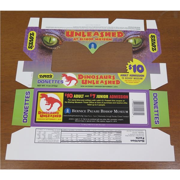 Love's Donettes Box Product Packaging - Bishop Museum Dinosaurs Promo