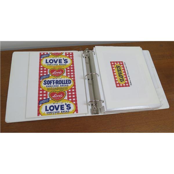 Binder w/ Loves Bread Logos: Soft Rolled, Cream Bread, Seaside Lunch, etc