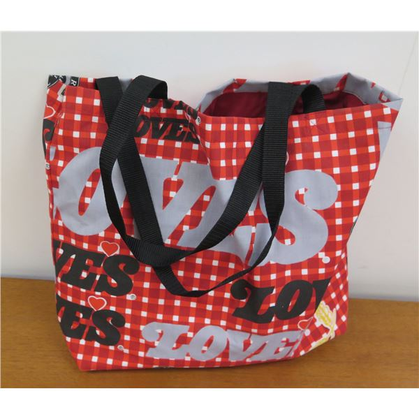 Love's Logo Red/Blacked Checked Country Hearth Tote Bag