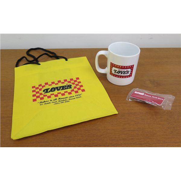 Love's Logo Tote Bag, Logo Coffee Mug & Wrapped Thrift Store Souvenir