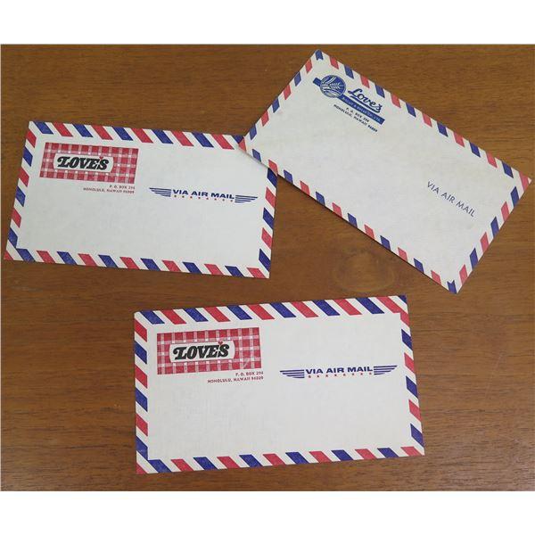 Qty 3 Air Mail Envelopes w/ Love's Logo Return Address