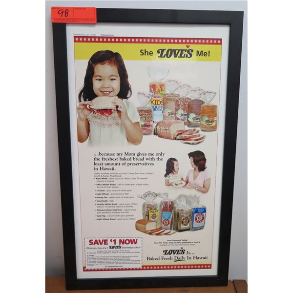"""Love's Baked Fresh in Hawaii since 1851 Framed Poster w/ Coupon 15""""x24"""""""