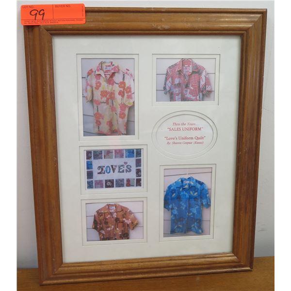 "Love's Uniform Quilt Aloha Shirt Framed Photo Collage by Sharon Corpuz 14""x17"""