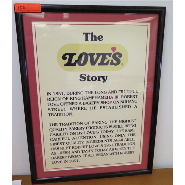 """The Love's Story Framed Sign 21""""x29"""""""