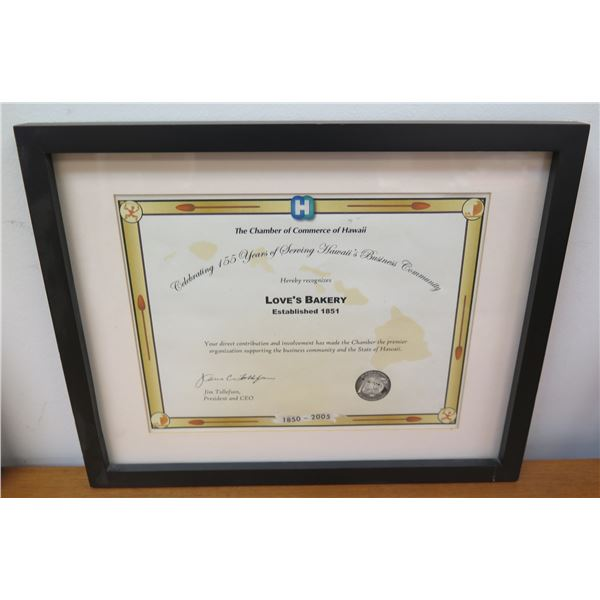 """Love's Bakery Chamber of Commerce Hawaii Member Certificate 155 Years 15""""x12"""""""