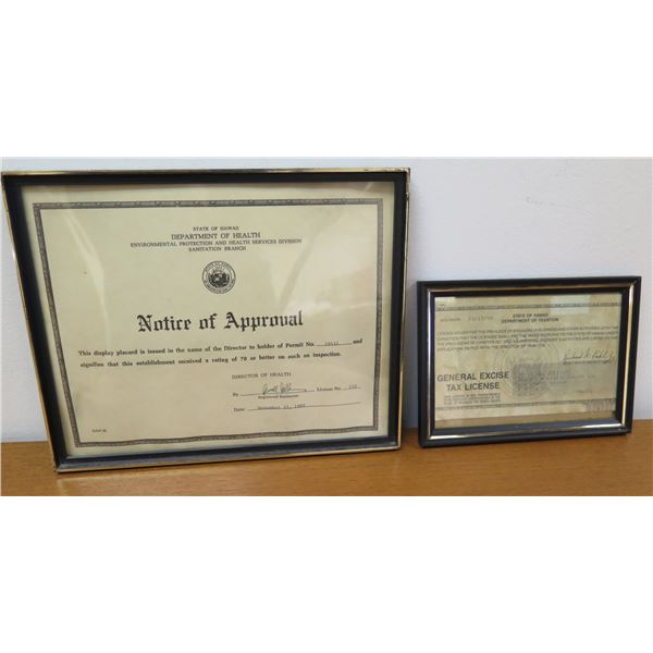 State Department of Health Approval & General Excise Tax License Framed