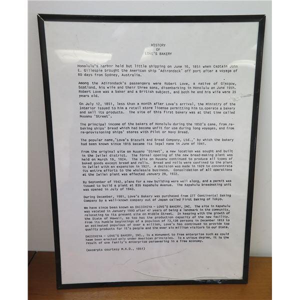 """Framed History of Love's Bakery  18""""x24"""""""