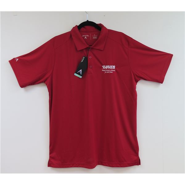Love's Bakery Antigua Red Polo Shirt, Men's Large