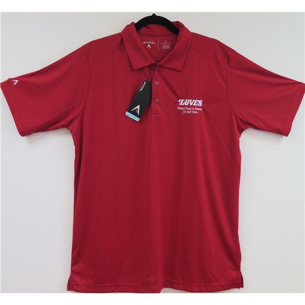 Love's Bakery Antigua Red Polo Shirt, Men's Medium