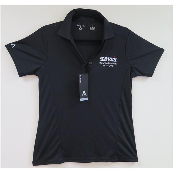 Love's Bakery Antigua Black Polo Shirt, Women's Small