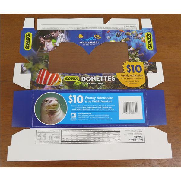 Love's Donettes Box Product Packaging - Waikiki Aquarium Promo