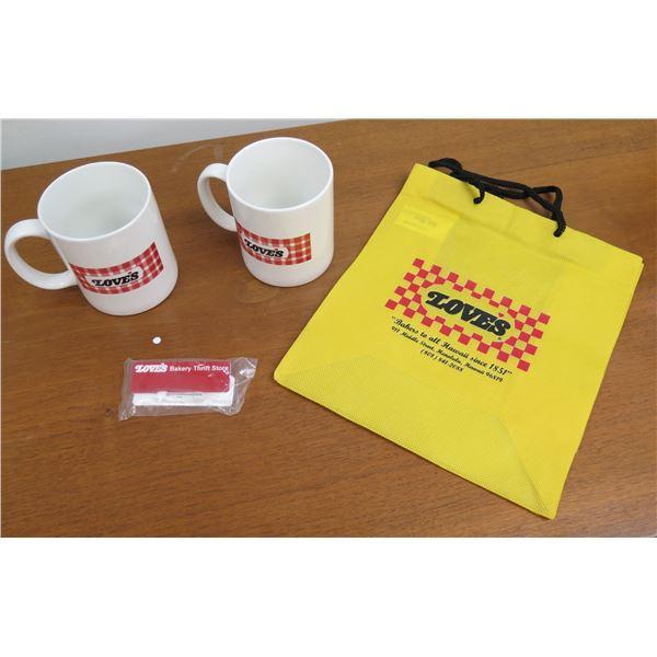 Love's Logo Tote Bag, 2 Logo Coffee Mugs & Wrapped Thrift Store Souvenir