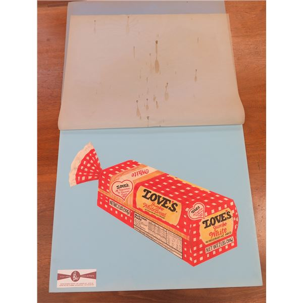 """Artist's Rendering, Sketch of Love's Bread Packaging, Approx. 22"""" by Brouse Whited Creative Packagin"""
