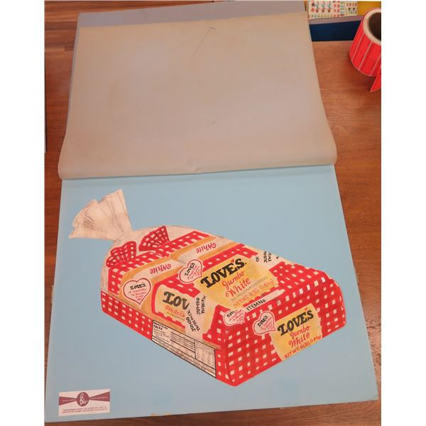 """Artist's Rendering, Sketch of Love's Twin-Pack Bread Packaging, Approx. 24"""" by Brouse Whited Creativ"""