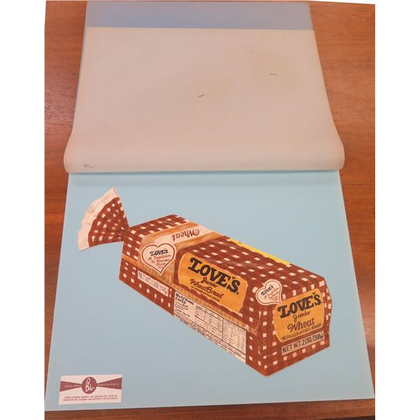 """Artist's Rendering Sketch of Love's Wheat Bread Packaging, Approx. 22"""" by Brouse Whited Creative Pac"""