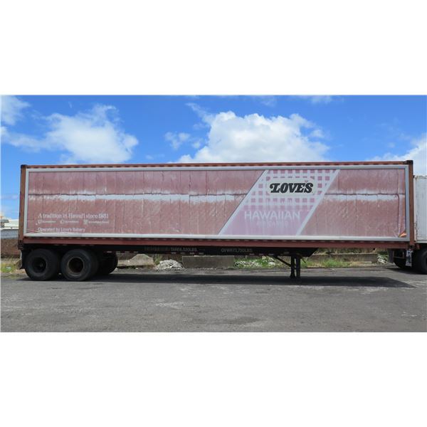 40-Foot Container on Chassis (#4401184) with Interior Pallet Rollers & Winch