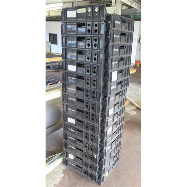 Qty 30 Black Stackable Square Heavy Plastic Bread Trays