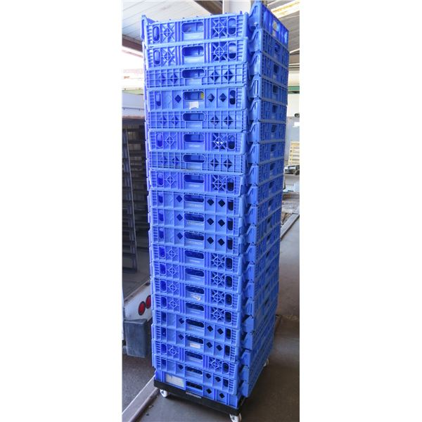 Qty 40 Blue Stackable Square Heavy Plastic Bread Trays
