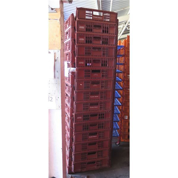Qty 30 Red Stackable Square Heavy Plastic Bread Trays