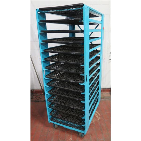 """Commercial Blue Painted Rolling Metal Cooling Rack w/ Black Plastic Trays 28""""x42""""x79"""" Tall"""
