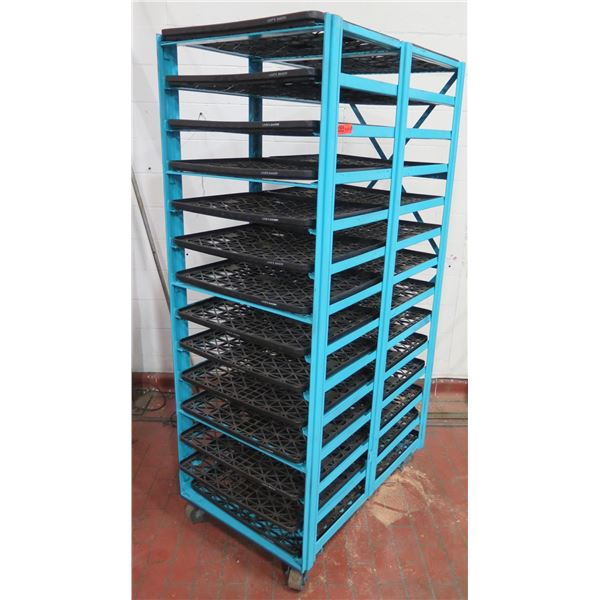 """Commercial Blue Painted Rolling Metal Cooling Rack w/ Black Plastic Trays 28""""x44""""x81"""" Tall"""