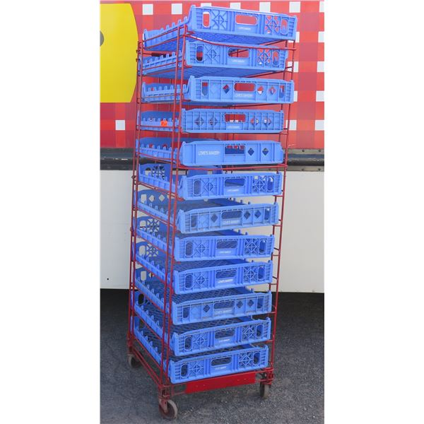 """Red Painted Wire Cooling Rack w/ Blue Plastic Trays 23""""x27""""x74""""H"""