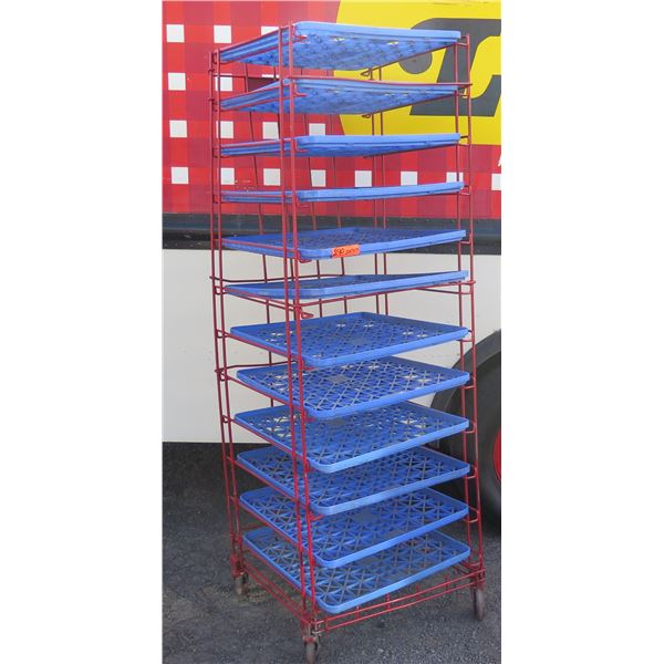 """Red Painted Wire Cooling Rack w/ Blue Plastic Trays 23""""x25""""x74""""H"""