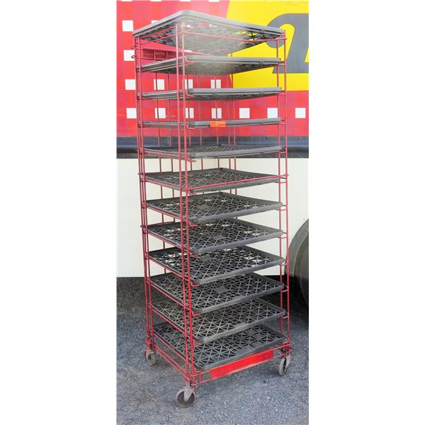 """Red Painted Wire Cooling Rack w/ Gray Plastic Trays 23""""x25""""x74""""H"""