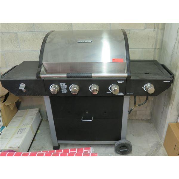 Rolling Brinkmann Gas BBQ Grill w/ Under Shelf, Side Shelf & Side Burner