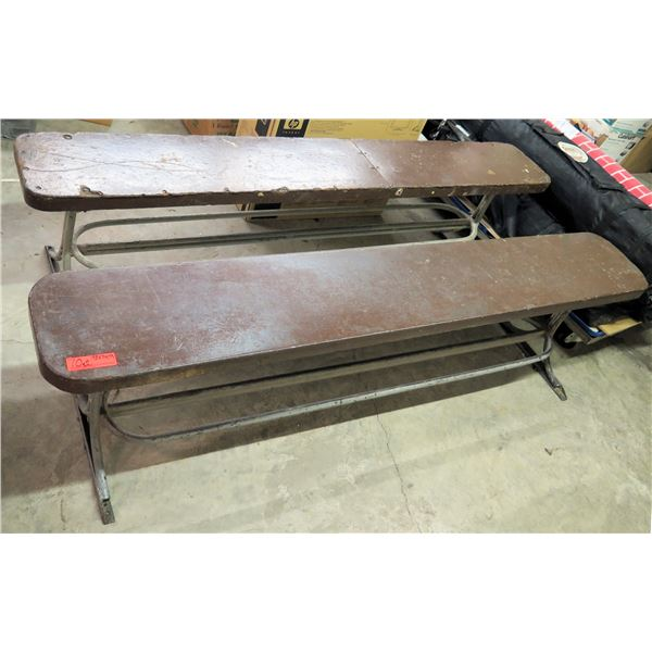 "Qty 2 Wooden Bench Seats w/ Metal Legs 72""x11""x19""H"