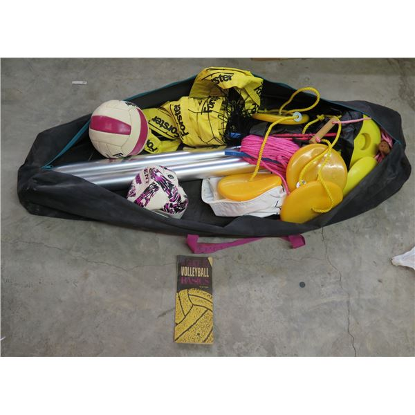 Volleyball Net w/ Balls, Weights, Rope & Forster Carry Case