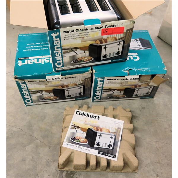 Qty 3 Cuisinart RBT-450 Series Metal Classic 4-Slice Toasters in Box