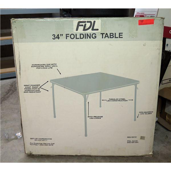 """FDL 34"""" Folding Table w/ Gray Vinyl Hardboard Top & Easy Release Leg Locks in Box"""