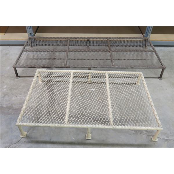 """Qty 2 Low Wire Mesh Stands 72""""x30""""x8""""H / 48""""x29""""x8""""H"""