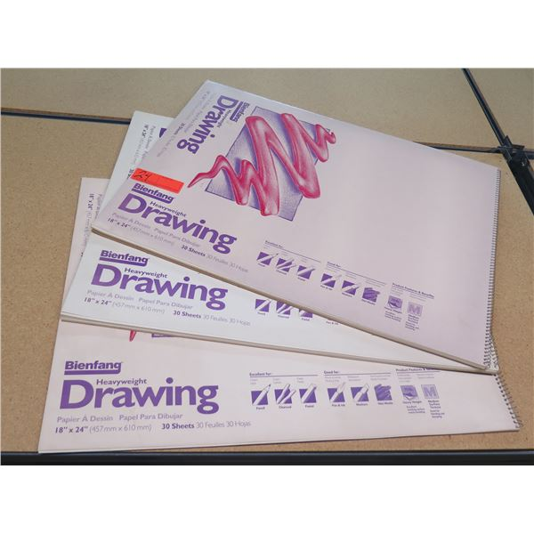 "Qty 3 Bienfang Heavyweight Drawing Paper 30 Sheets/Package 18""x24"""