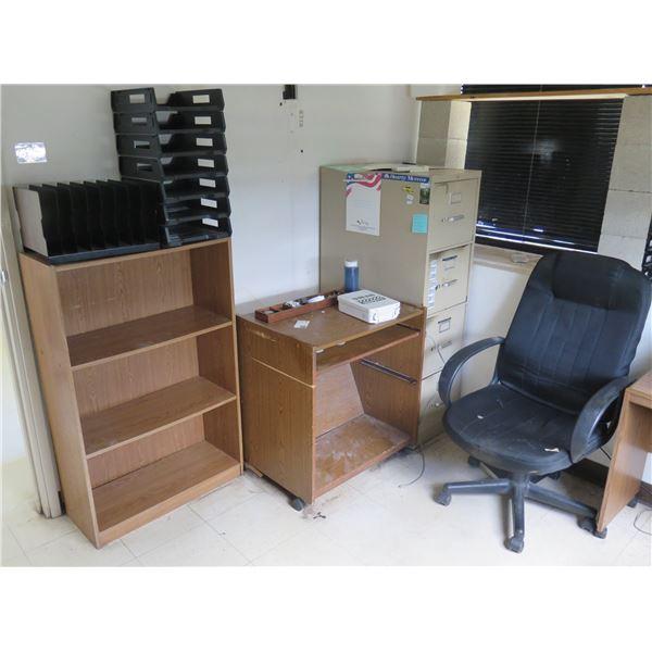 Wooden 3 Tier Shelf, Metal 4 Drawer File Cabinet, Rolling Typewriter Table & Chair
