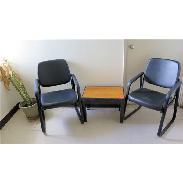 Qty 2 Reception Chairs, Low Wooden Table & Potted Plant