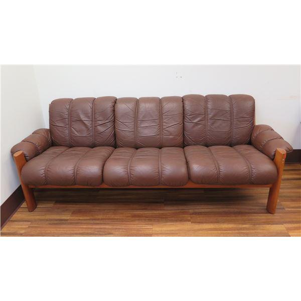 "Brown Upholstered Sofa on Wood Frame 82""x23""x29""H"