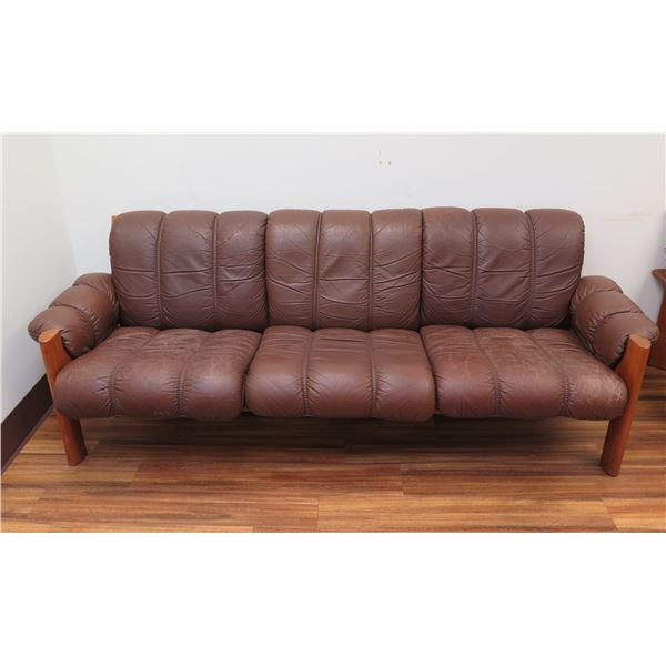"Brown Upholstered Sofa, Wood Frame 82""x23""x29""H"