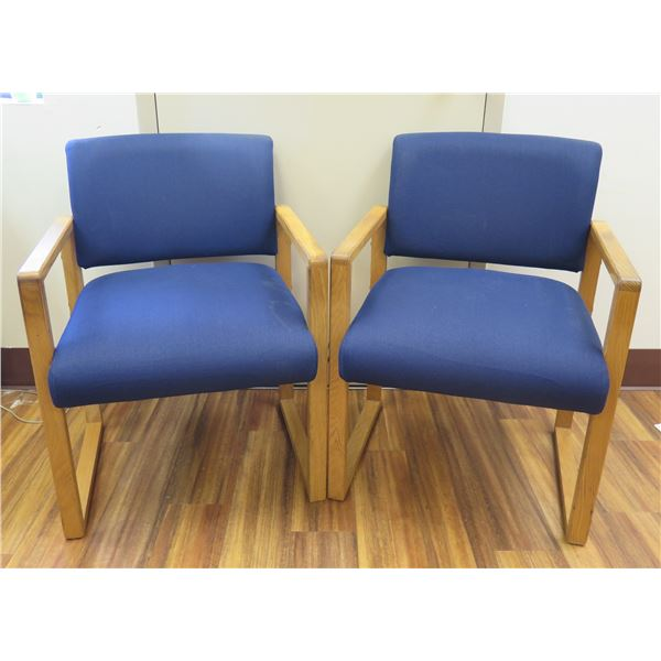Qty 2 Blue Upholstered Arm Chairs on Wood Frames