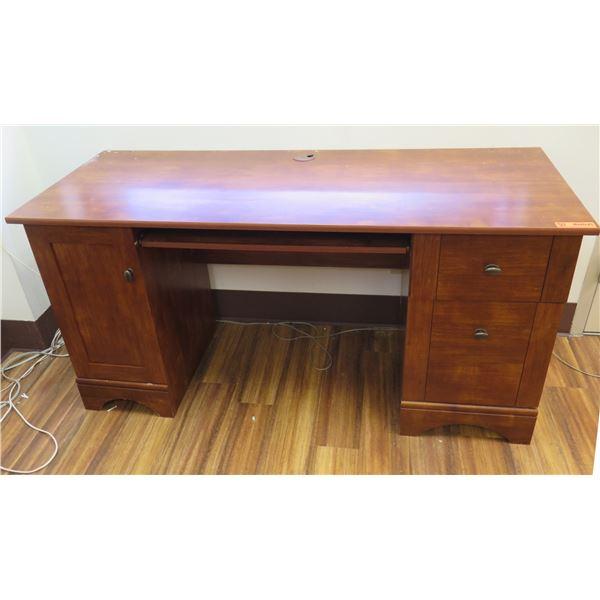 "Wooden Desk w/ Side Cabinet & 2 Drawers 59""x23""x29"""
