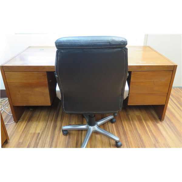 """Veripanel Wooden Desk w/ 5 Drawers 72""""x35""""x29"""" & Rolling Office Arm Chair"""