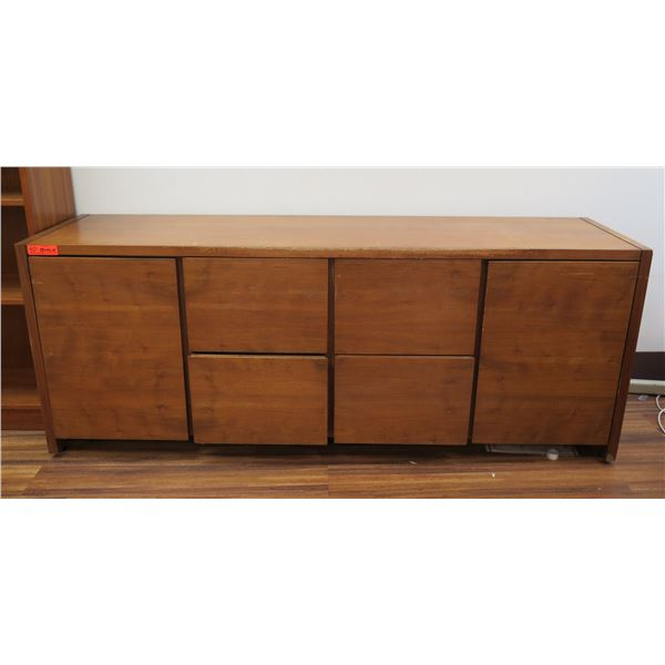 """Wooden Cabinet w/ 2 Side Cabinets & 4 Drawers 72""""x19""""x28"""""""