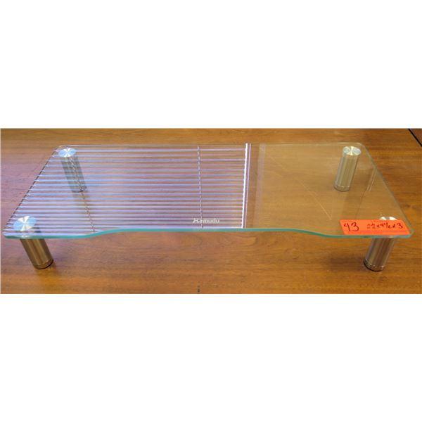 "Hemudu Low Glass & Metal Table 22""x9.5""x3"""