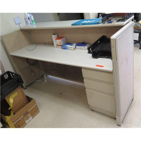"""Wooden Reception Desk w/ 3-Drawer Undercabinet 76""""x30""""x43""""H"""
