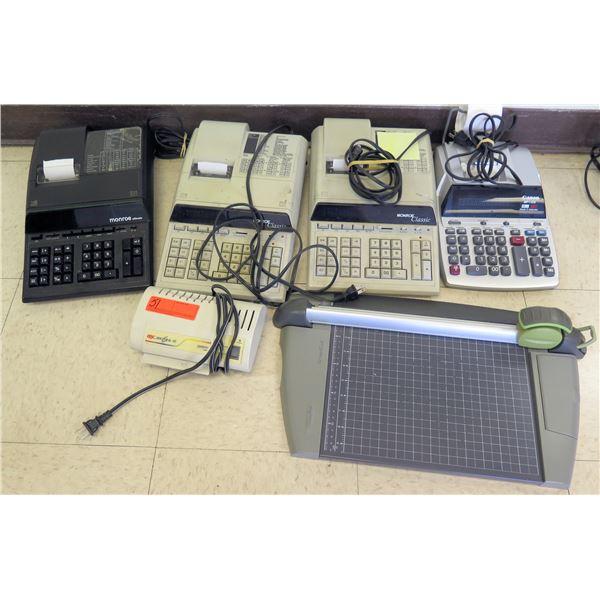Qty 4 Adding Machines - Monroe/Canon, Paper Cutter & GBC Docu Seal 40