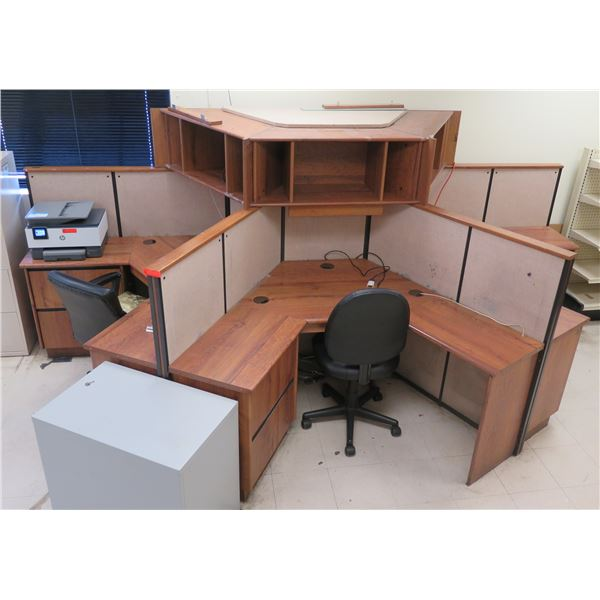 Modular 3-Cubicle System w/ Desks, Under-Cabinets, Overhead Shelving & Office Chairs