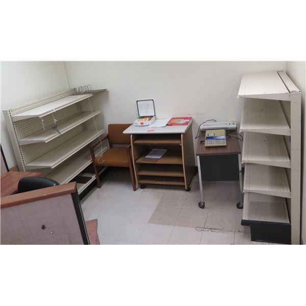 Qty 2 Metal Shelving Units, Reception Chair, Wooden 4-Shelf Printer Stand, etc
